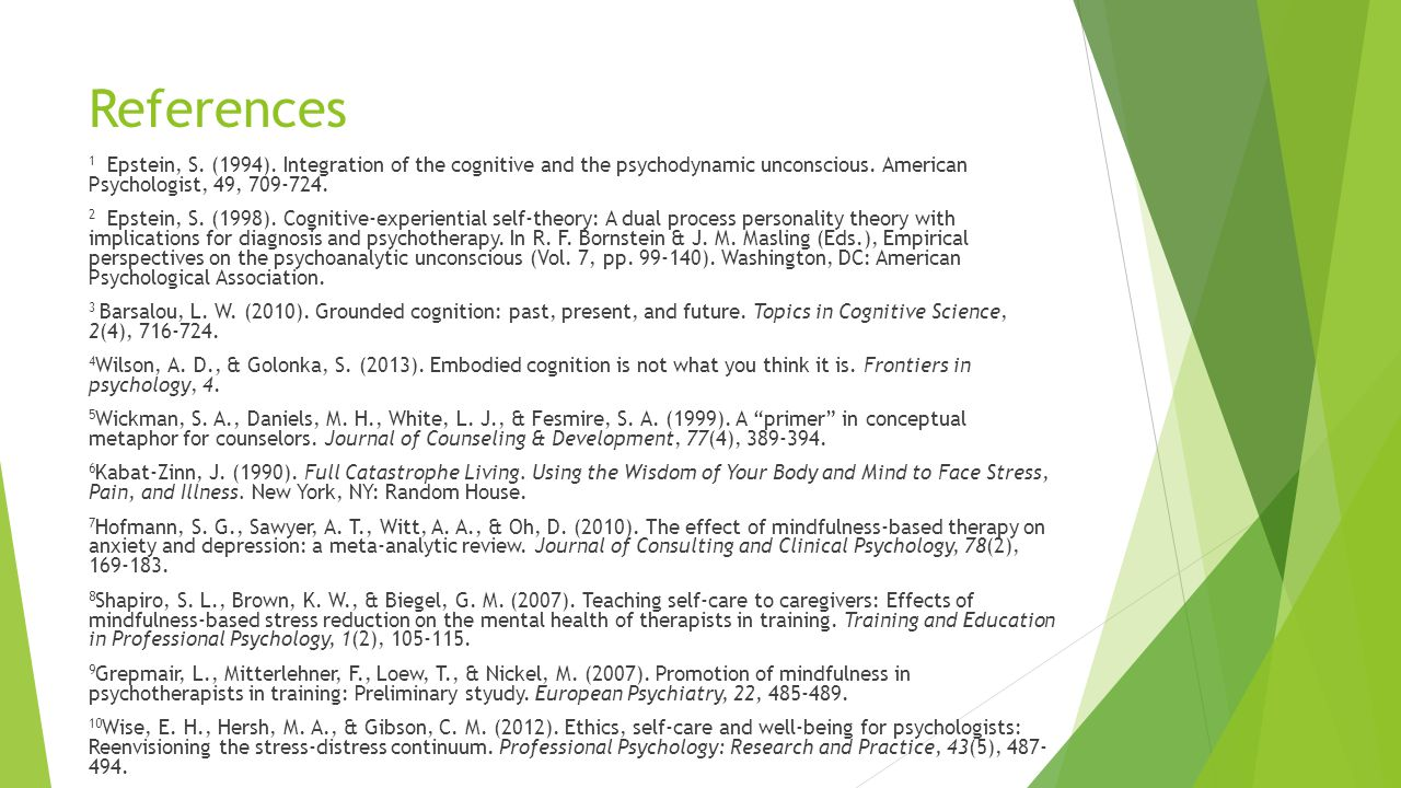 References 1 Epstein, S. (1994). Integration of the cognitive and the psychodynamic unconscious.