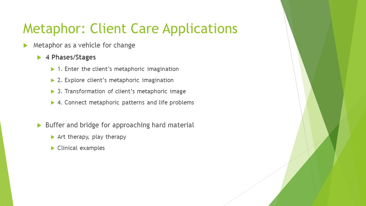 Metaphor: Client Care Applications  Metaphor as a vehicle for change  4 Phases/Stages  1.