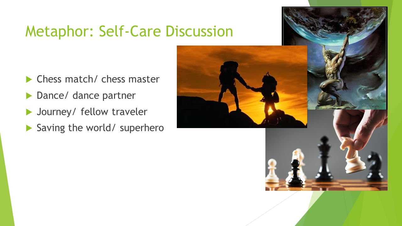 Metaphor: Self-Care Discussion  Chess match/ chess master  Dance/ dance partner  Journey/ fellow traveler  Saving the world/ superhero