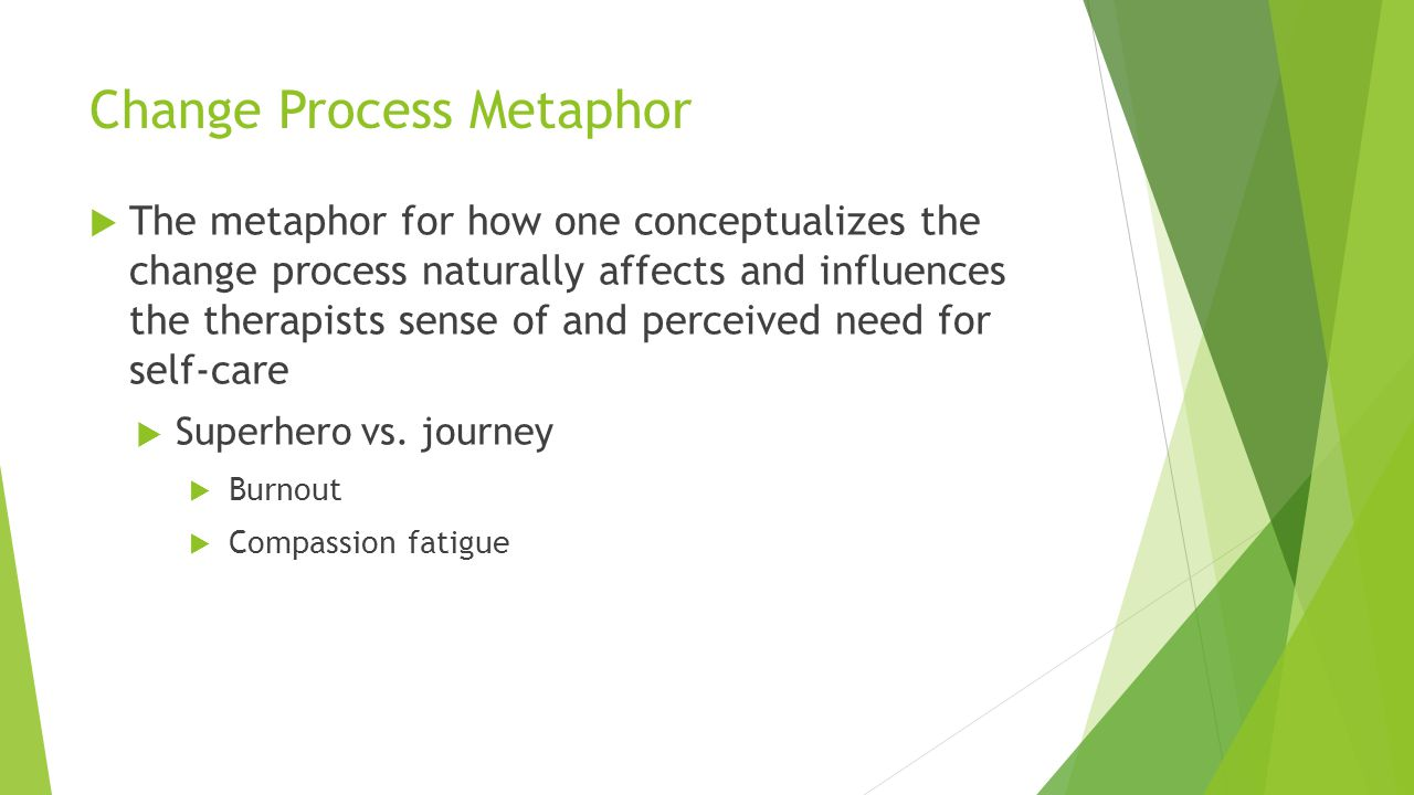Change Process Metaphor  The metaphor for how one conceptualizes the change process naturally affects and influences the therapists sense of and perc