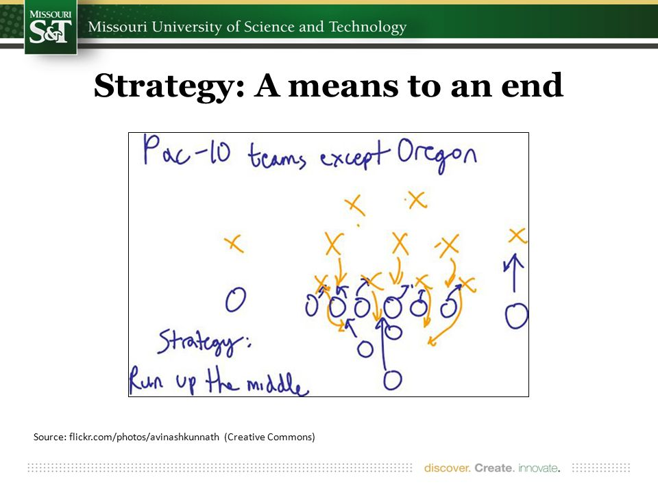 Strategy: A means to an end Source: flickr.com/photos/avinashkunnath (Creative Commons)