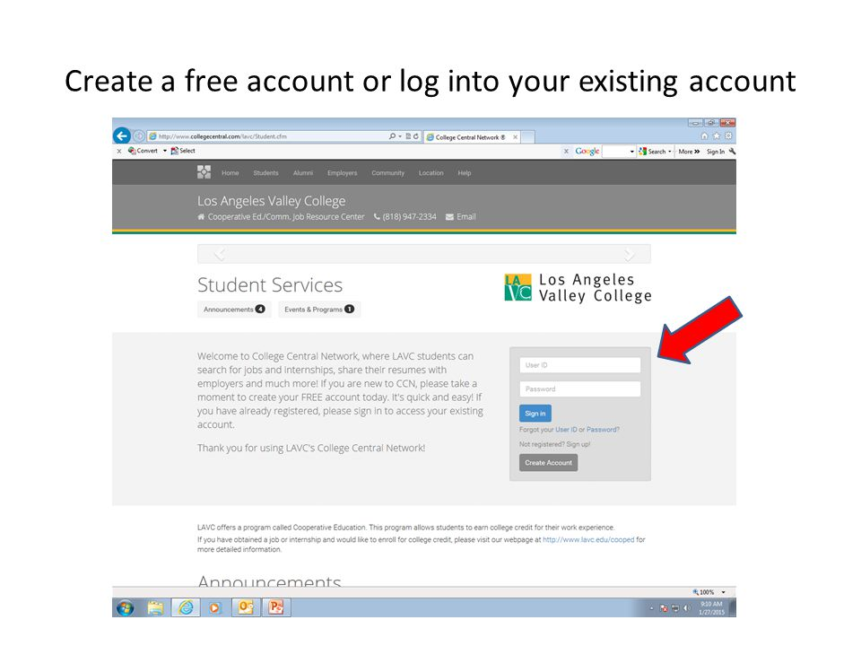 Create a free account or log into your existing account