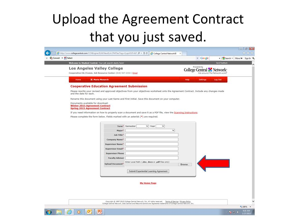 Upload the Agreement Contract that you just saved.