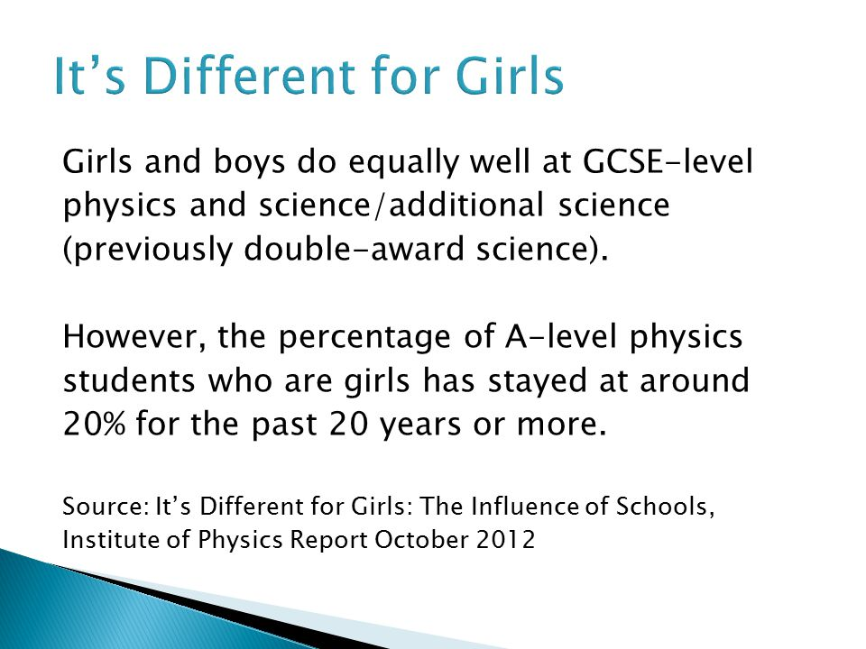 Girls and boys do equally well at GCSE-level physics and science/additional science (previously double-award science).
