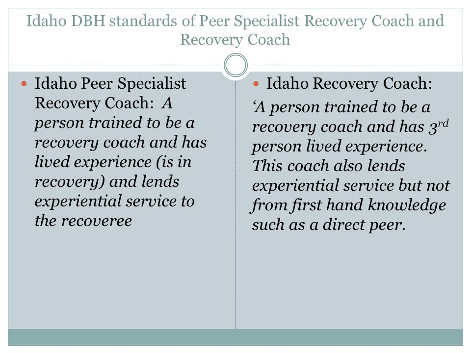 Idaho DBH standards of Peer Specialist Recovery Coach and Recovery Coach Idaho Peer Specialist Recovery Coach: A person trained to be a recovery coach