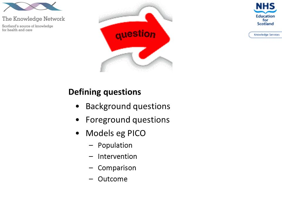 Defining questions Background questions Foreground questions Models eg PICO –Population –Intervention –Comparison –Outcome