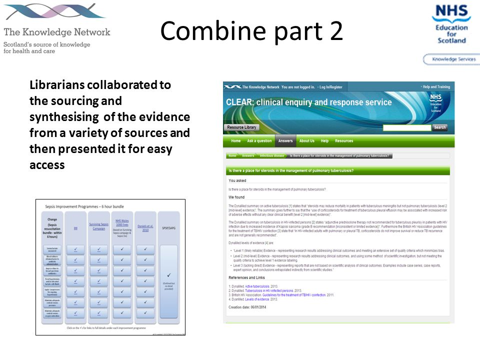Combine part 2 Librarians collaborated to the sourcing and synthesising of the evidence from a variety of sources and then presented it for easy access