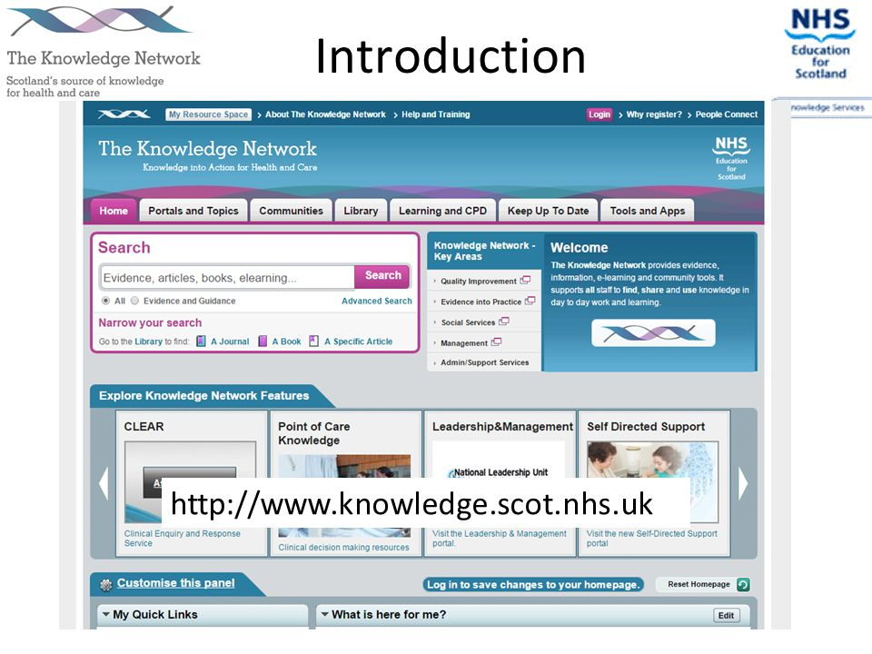 Introduction http://www.knowledge.scot.nhs.uk