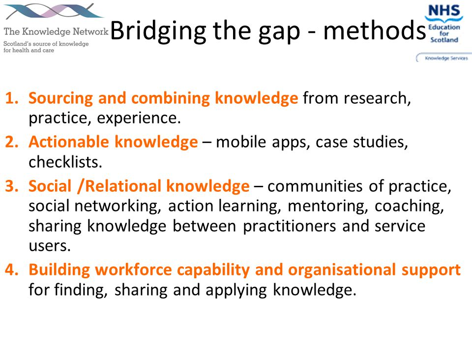 Bridging the gap - methods 1.Sourcing and combining knowledge from research, practice, experience.