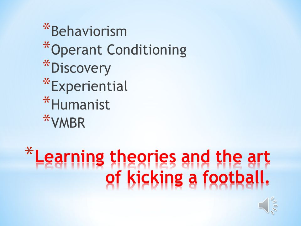 * Behaviorism * Operant Conditioning * Discovery * Experiential * Humanist * VMBR