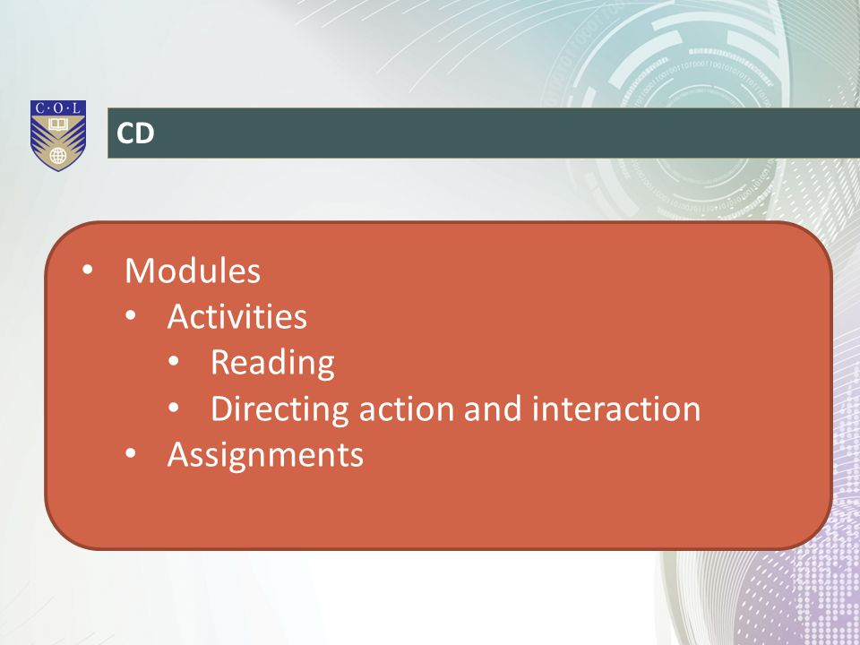 CD Modules Activities Reading Directing action and interaction Assignments