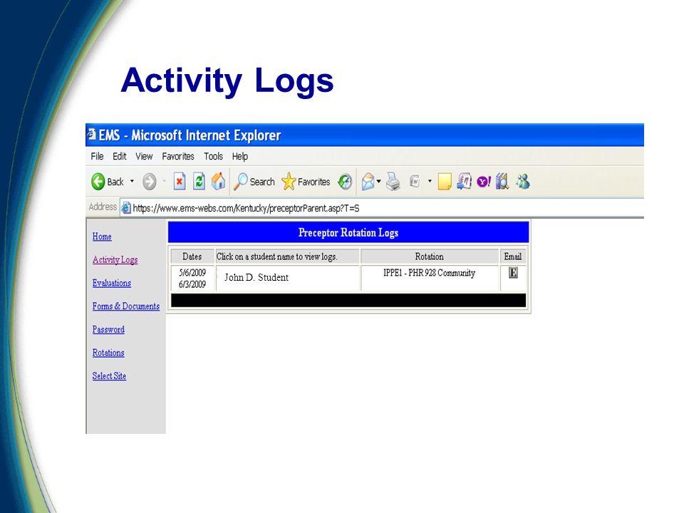 Activity Logs John D. Student