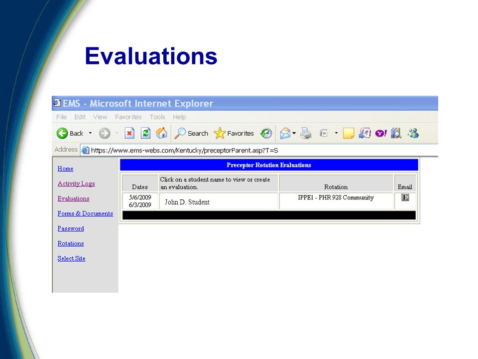 Evaluations John D. Student