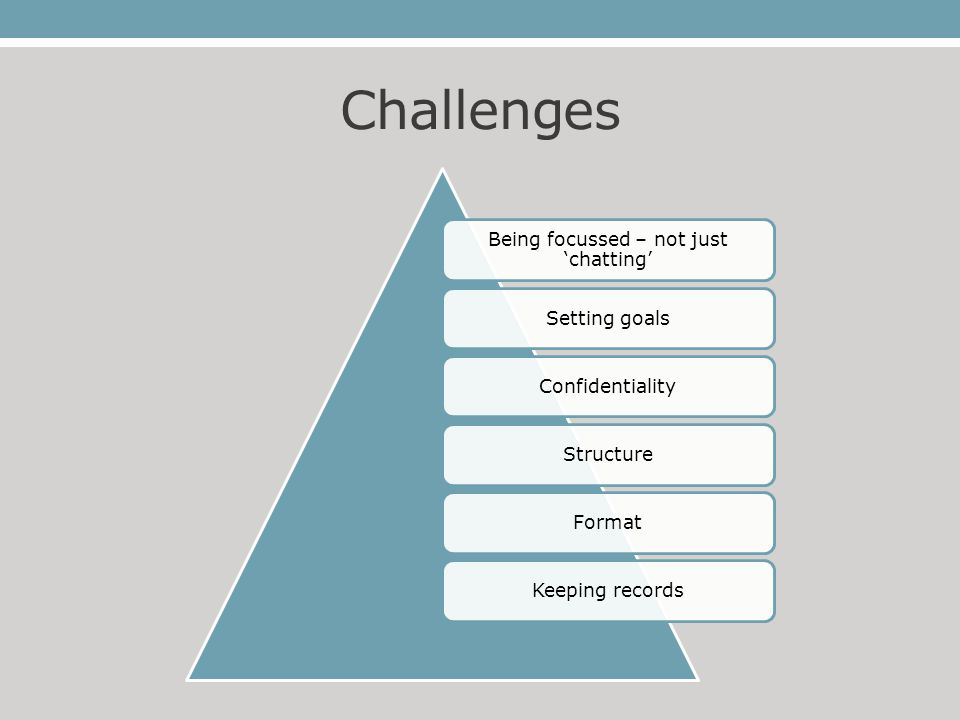 Challenges Being focussed – not just 'chatting' Setting goalsConfidentialityStructureFormatKeeping records