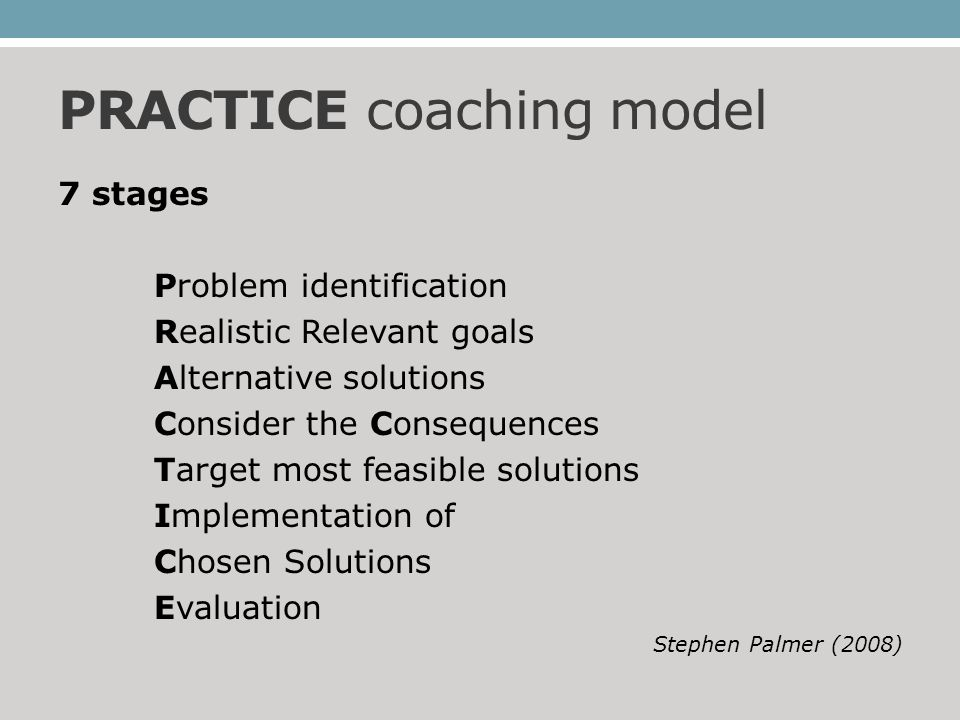 PRACTICE coaching model 7 stages Problem identification Realistic Relevant goals Alternative solutions Consider the Consequences Target most feasible solutions Implementation of Chosen Solutions Evaluation Stephen Palmer (2008)