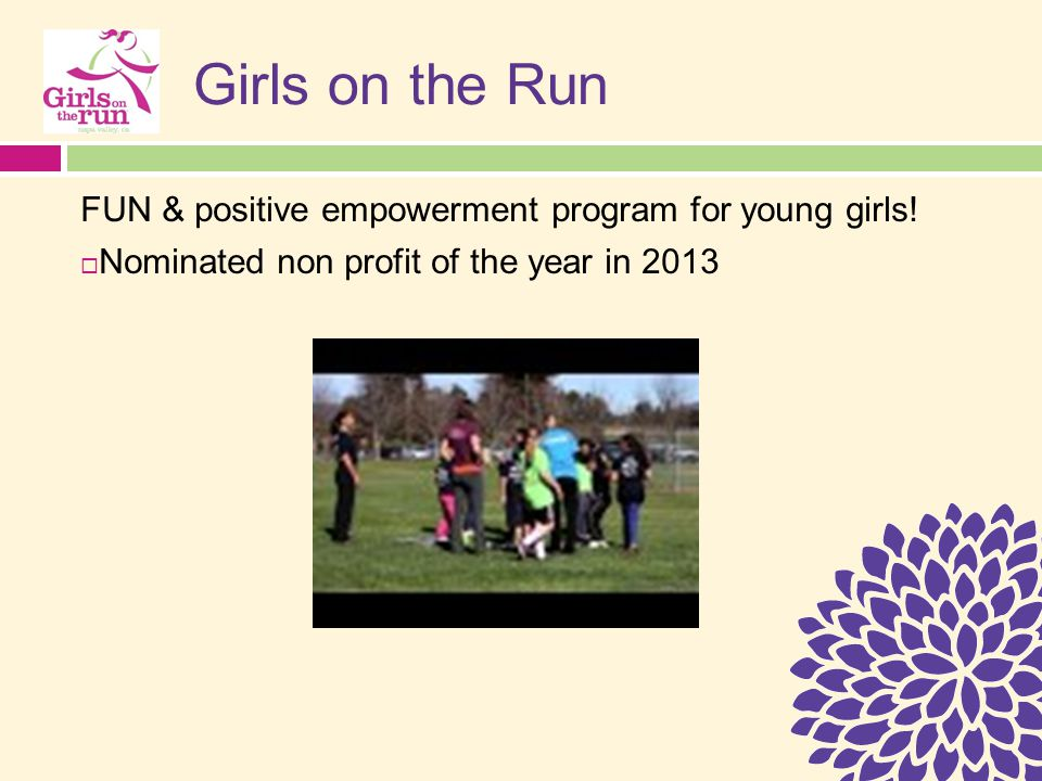 Girls on the Run FUN & positive empowerment program for young girls.