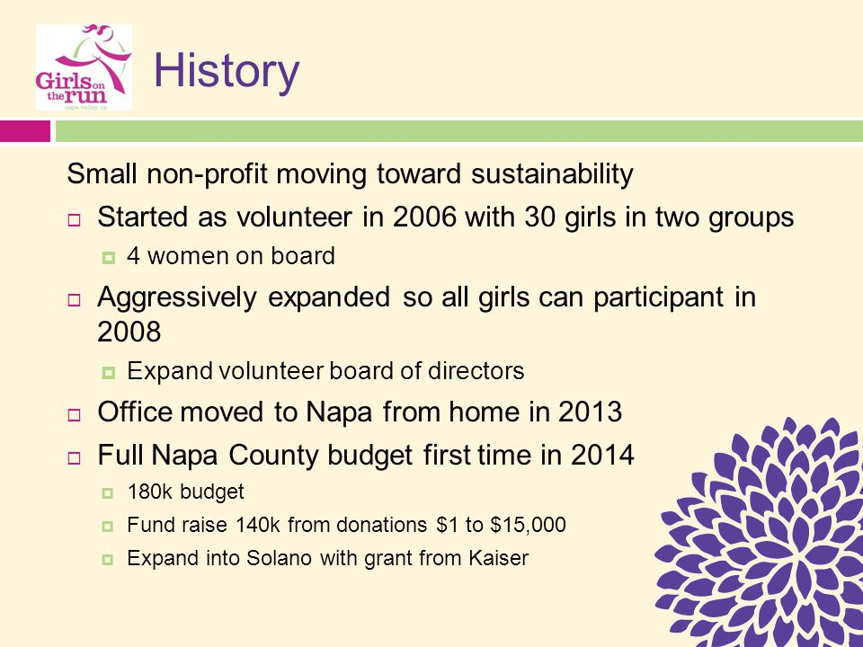 History Small non-profit moving toward sustainability  Started as volunteer in 2006 with 30 girls in two groups  4 women on board  Aggressively expanded so all girls can participant in 2008  Expand volunteer board of directors  Office moved to Napa from home in 2013  Full Napa County budget first time in 2014  180k budget  Fund raise 140k from donations $1 to $15,000  Expand into Solano with grant from Kaiser