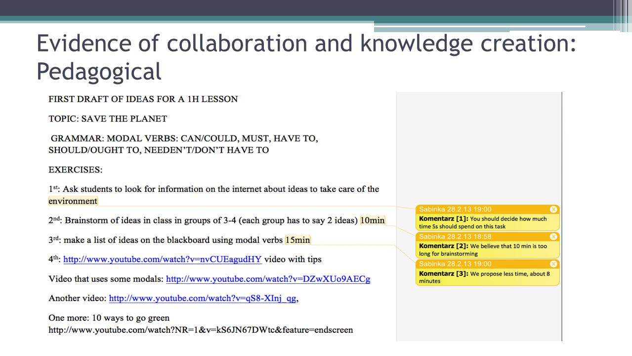 Evidence of collaboration and knowledge creation: Pedagogical