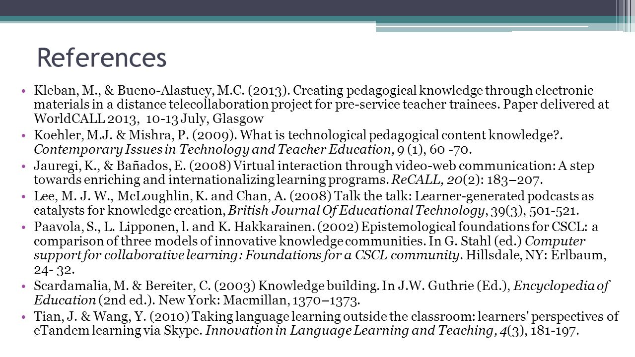 References Kleban, M., & Bueno-Alastuey, M.C. (2013). Creating pedagogical knowledge through electronic materials in a distance telecollaboration proj