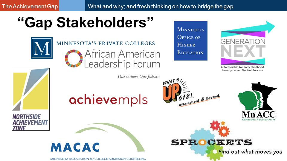 The Achievement Gap What and why; and fresh thinking on how to bridge the gap Gap Stakeholders