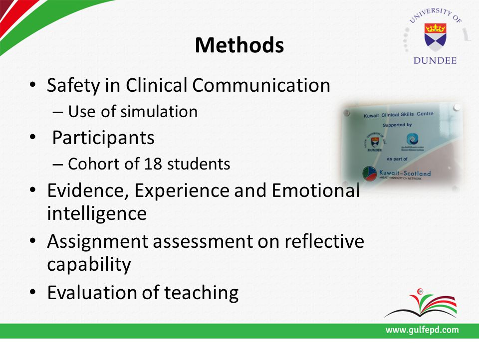 Methods Safety in Clinical Communication – Use of simulation Participants – Cohort of 18 students Evidence, Experience and Emotional intelligence Assignment assessment on reflective capability Evaluation of teaching