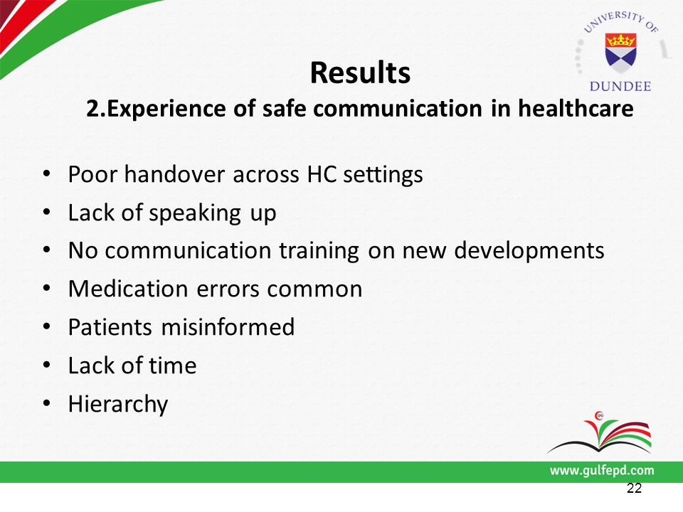 Results 2.Experience of safe communication in healthcare Poor handover across HC settings Lack of speaking up No communication training on new developments Medication errors common Patients misinformed Lack of time Hierarchy 22