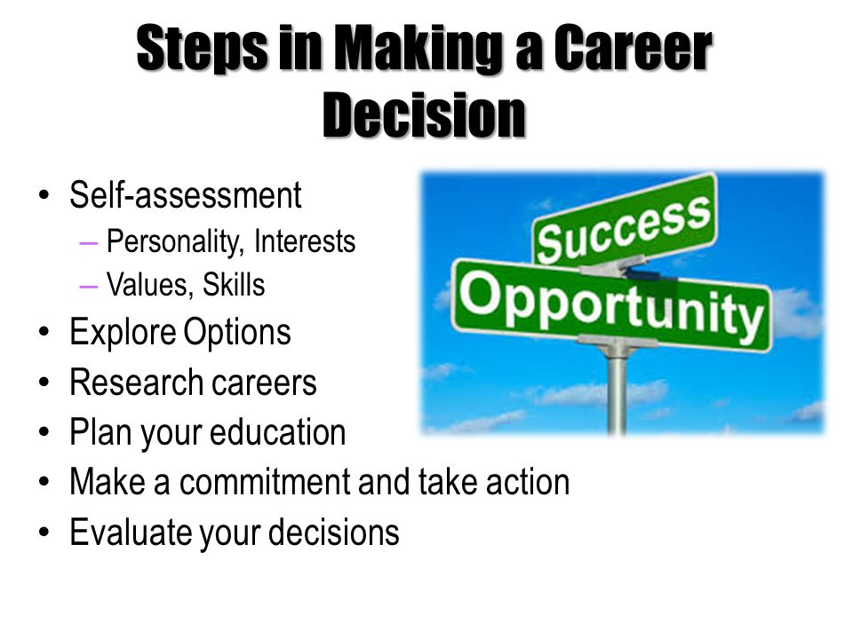 Steps in Making a Career Decision Self-assessment – Personality, Interests – Values, Skills Explore Options Research careers Plan your education Make a commitment and take action Evaluate your decisions