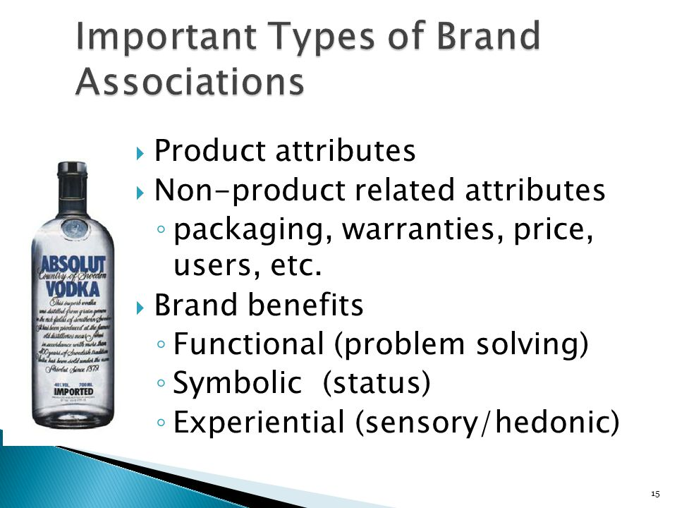 15  Product attributes  Non-product related attributes ◦ packaging, warranties, price, users, etc.  Brand benefits ◦ Functional (problem solving) ◦