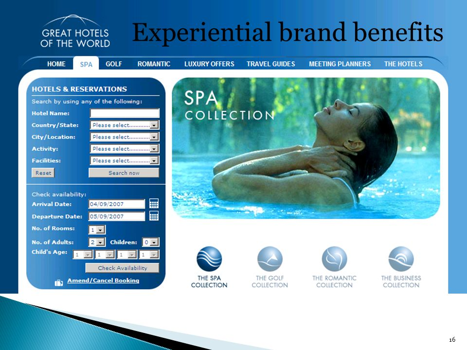 16 Experiential brand benefits