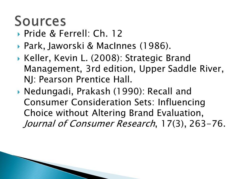  Pride & Ferrell: Ch. 12  Park, Jaworski & MacInnes (1986).