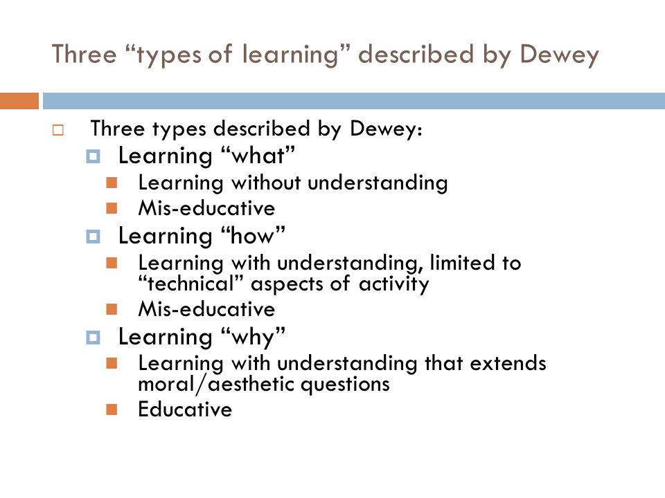 Three types of learning described by Dewey  Three types described by Dewey:  Learning what Learning without understanding Mis-educative  Learning how Learning with understanding, limited to technical aspects of activity Mis-educative  Learning why Learning with understanding that extends moral/aesthetic questions Educative