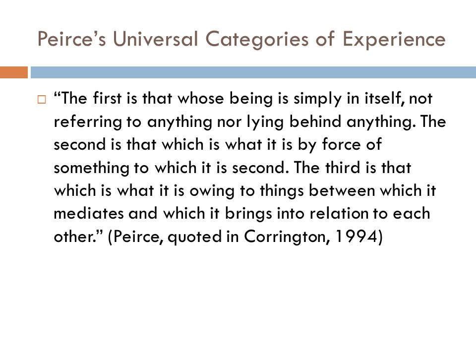 """Peirce's Universal Categories of Experience  """"The first is that whose being is simply in itself, not referring to anything nor lying behind anything."""