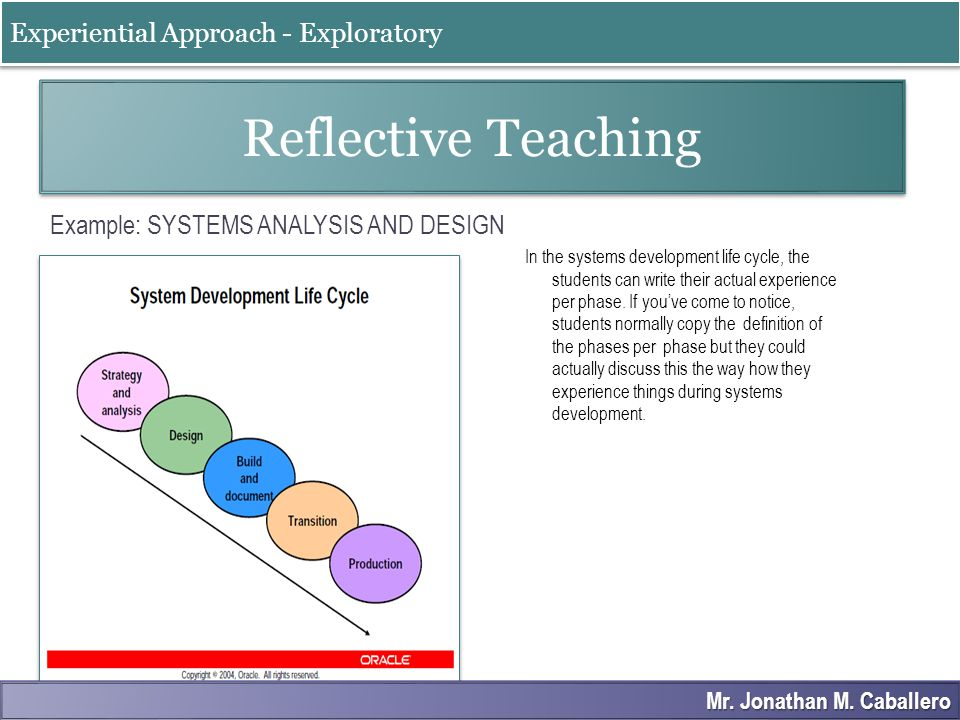 Example: SYSTEMS ANALYSIS AND DESIGN In the systems development life cycle, the students can write their actual experience per phase. If you've come t