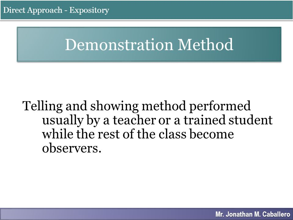 Stages of Reflective Teaching Concrete Experience Observation and Analysis Abstract Reconceptualization Active Experimentation Experiential Approach - Exploratory Mr.