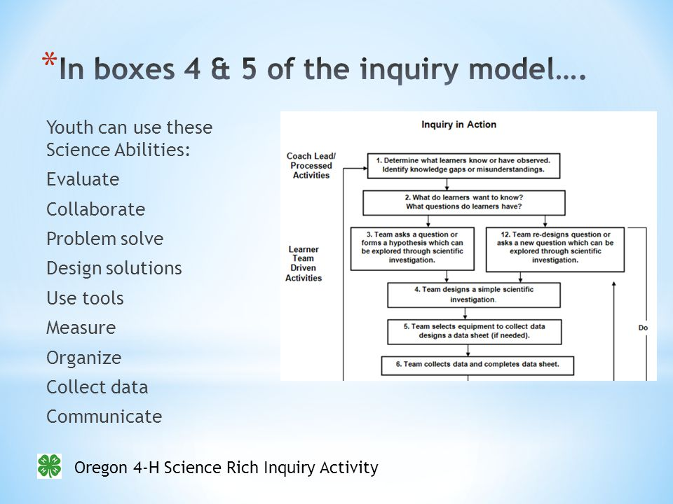 Oregon 4-H Science Rich Inquiry Activity Youth can use these Science Abilities: Evaluate Collaborate Problem solve Design solutions Use tools Measure Organize Collect data Communicate