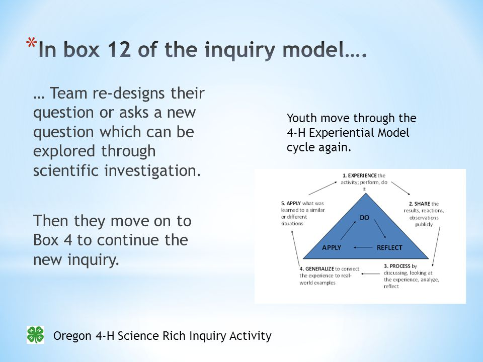 Oregon 4-H Science Rich Inquiry Activity … Team re-designs their question or asks a new question which can be explored through scientific investigation.
