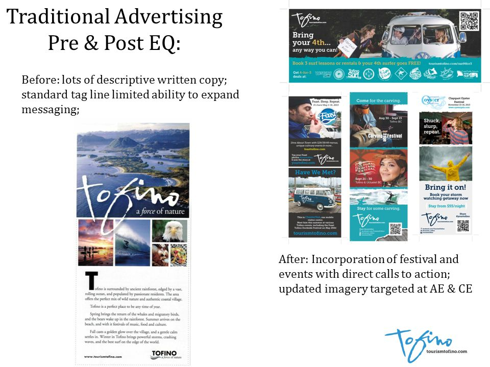 Traditional Advertising Pre & Post EQ: Before: lots of descriptive written copy; standard tag line limited ability to expand messaging; After: Incorporation of festival and events with direct calls to action; updated imagery targeted at AE & CE