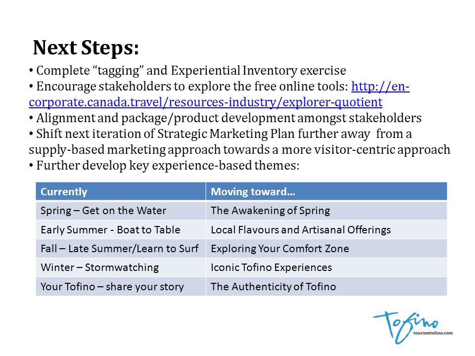 Next Steps: Complete tagging and Experiential Inventory exercise Encourage stakeholders to explore the free online tools: http://en- corporate.canada.travel/resources-industry/explorer-quotienthttp://en- corporate.canada.travel/resources-industry/explorer-quotient Alignment and package/product development amongst stakeholders Shift next iteration of Strategic Marketing Plan further away from a supply-based marketing approach towards a more visitor-centric approach Further develop key experience-based themes: CurrentlyMoving toward… Spring – Get on the WaterThe Awakening of Spring Early Summer - Boat to TableLocal Flavours and Artisanal Offerings Fall – Late Summer/Learn to SurfExploring Your Comfort Zone Winter – StormwatchingIconic Tofino Experiences Your Tofino – share your storyThe Authenticity of Tofino