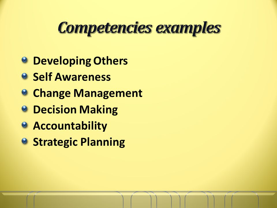 Developing Others Self Awareness Change Management Decision Making Accountability Strategic Planning