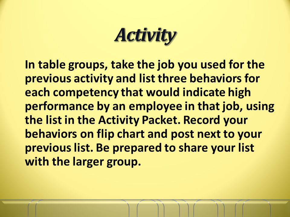In table groups, take the job you used for the previous activity and list three behaviors for each competency that would indicate high performance by an employee in that job, using the list in the Activity Packet.