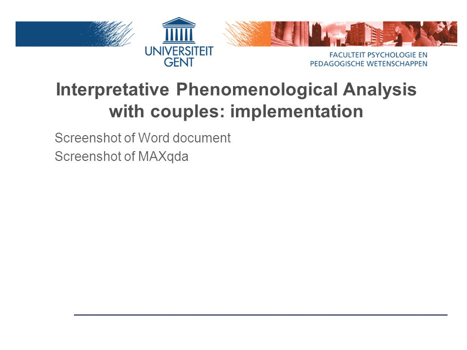 Interpretative Phenomenological Analysis with couples: implementation Screenshot of Word document Screenshot of MAXqda