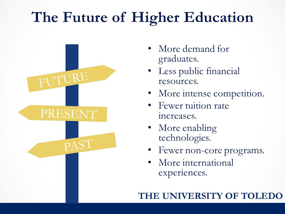 The Future of Higher Education More demand for graduates. Less public financial resources. More intense competition. Fewer tuition rate increases. Mor