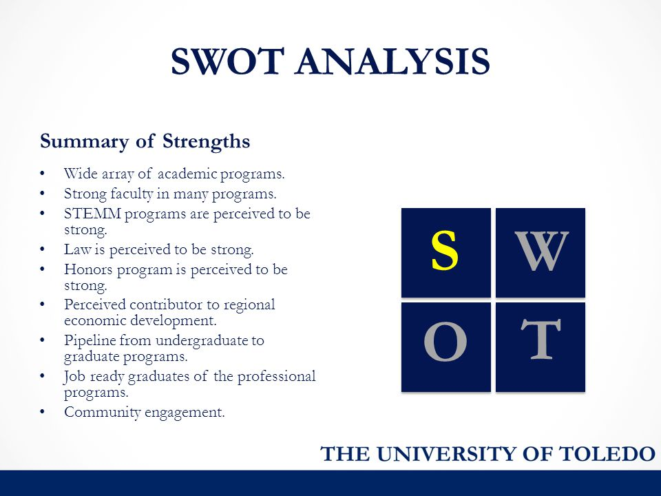 SWOT ANALYSIS Summary of Strengths SW O T Wide array of academic programs. Strong faculty in many programs. STEMM programs are perceived to be strong.
