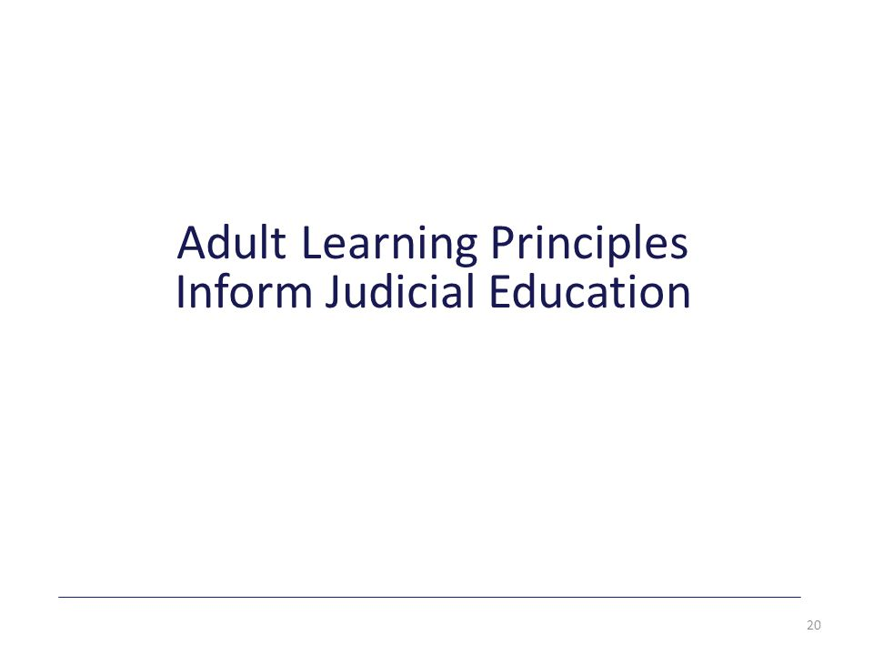 Adult Learning Principles Inform Judicial Education 20