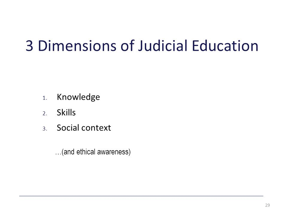 3 Dimensions of Judicial Education 1. Knowledge 2.