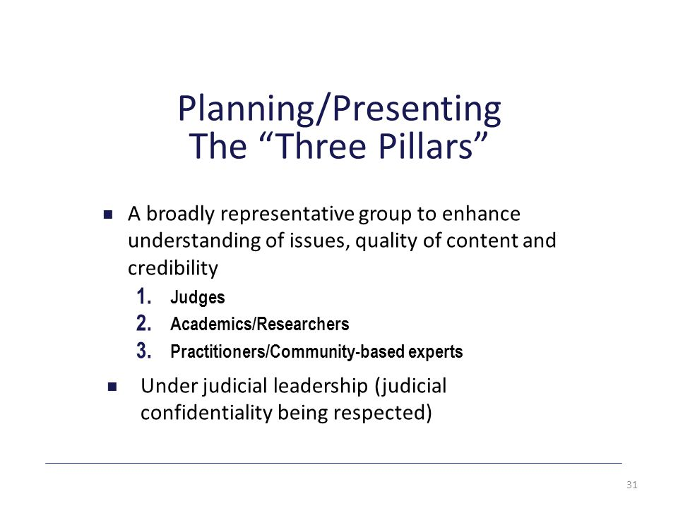 Planning/Presenting The Three Pillars A broadly representative group to enhance understanding of issues, quality of content and credibility 1.