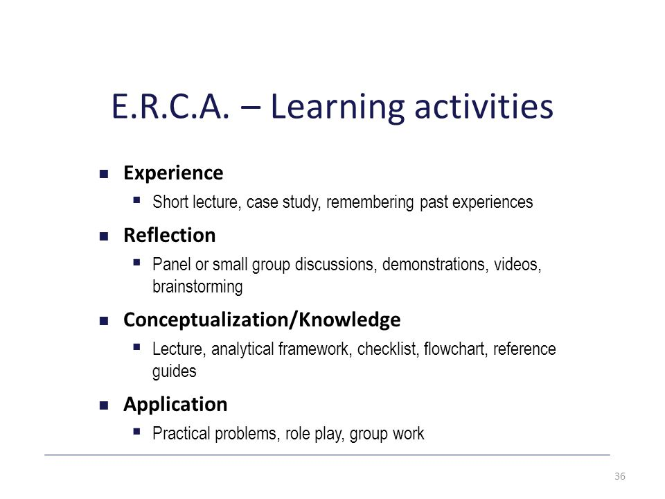 E.R.C.A. – Learning activities Experience  Short lecture, case study, remembering past experiences Reflection  Panel or small group discussions, dem