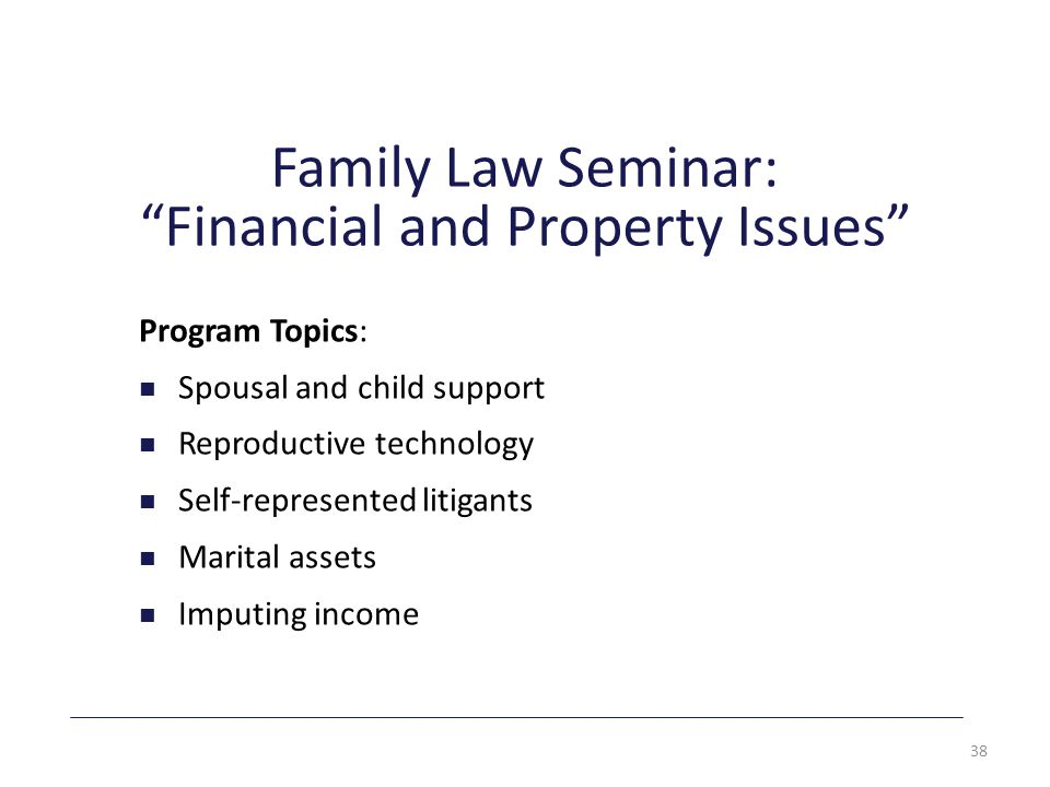 Family Law Seminar: Financial and Property Issues Program Topics: Spousal and child support Reproductive technology Self-represented litigants Marital assets Imputing income 38