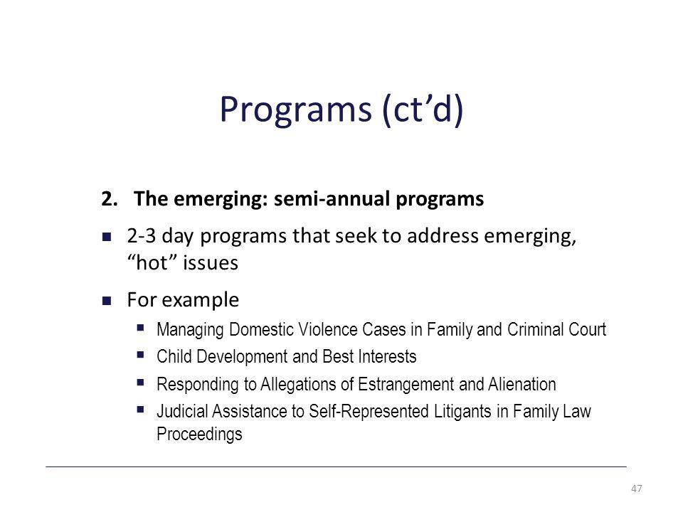 Programs (ct'd) 2.