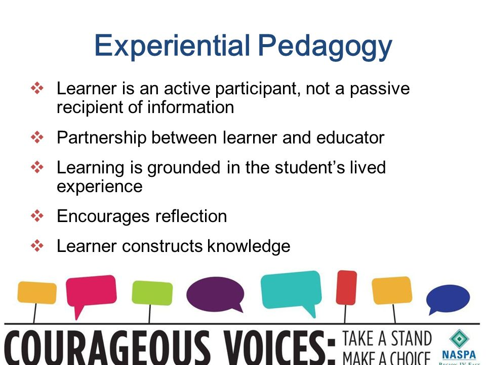 Experiential Pedagogy  Learner is an active participant, not a passive recipient of information  Partnership between learner and educator  Learning is grounded in the student's lived experience  Encourages reflection  Learner constructs knowledge
